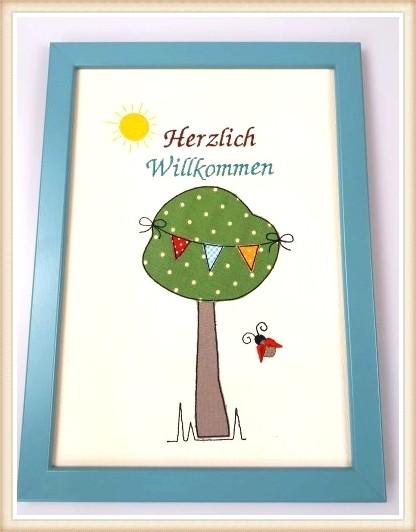 """Stickbild """"Herzlich Willkommen"""""""