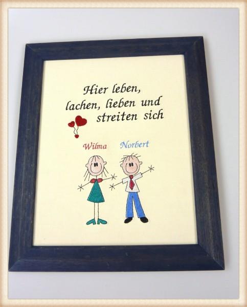 """Stickbild Hier leben, lieben und lachen..."""""""