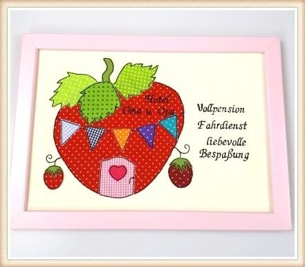 """Stickbild """"Erdbeerhaus"""""""