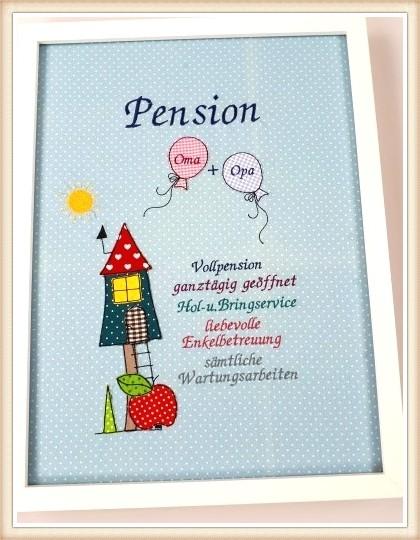 "Stickbild ""Pension"" Opa und Oma"""