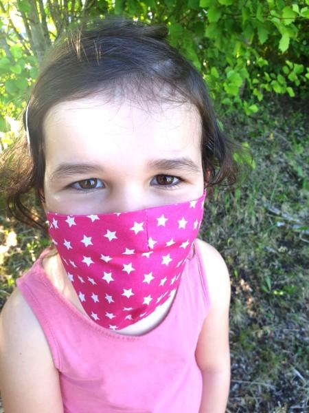 Nähpaket - Pinke Sterne: Gesichtsmaske für Kinder