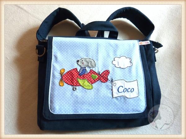 """Kindergartentasche """"Hase im Flugzeug"""""""