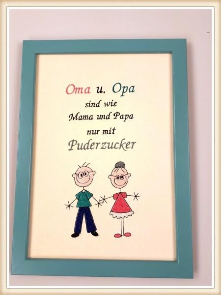 """Stickbild """"Opa und Oma mit Puderzucker"""""""