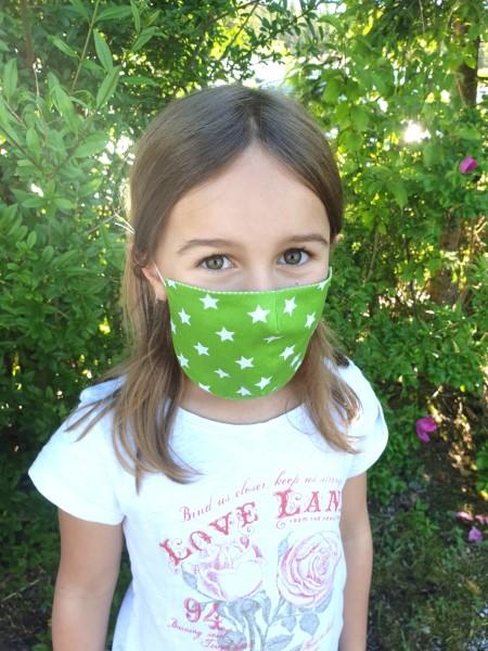 Nähpaket - Grüne Sterne: Gesichtsmaske für Kinder